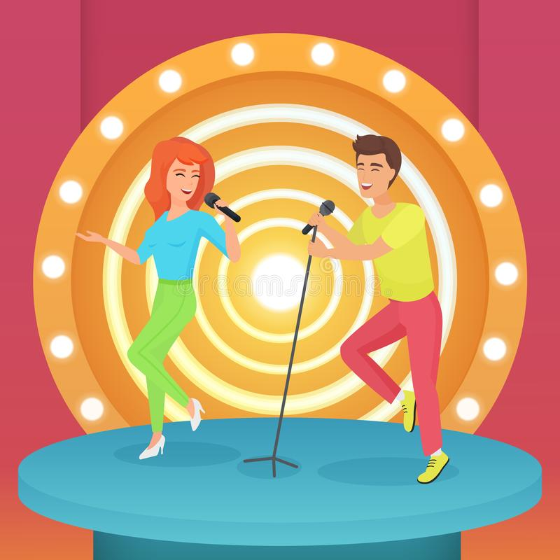 Couple, man and woman singing karaoke song with microphone standing on circle modern stage with lamps vector. Illustration stock illustration