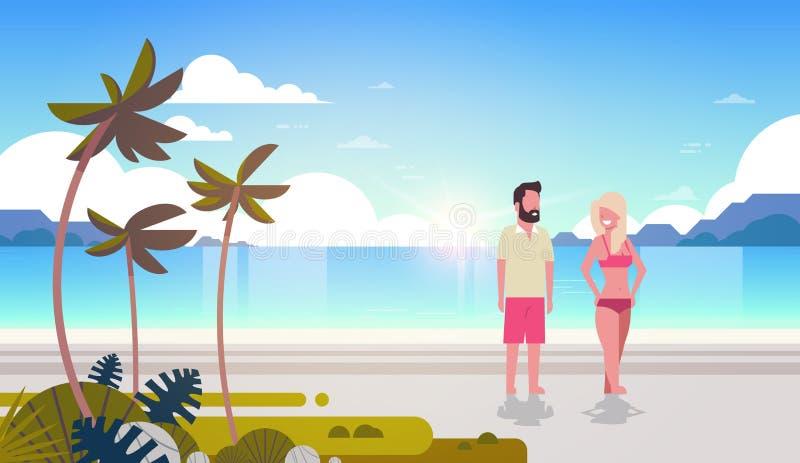 Couple man woman sunrise tropical palm beach summer vacation smiling walking seaside sea ocean flat horizontal royalty free illustration