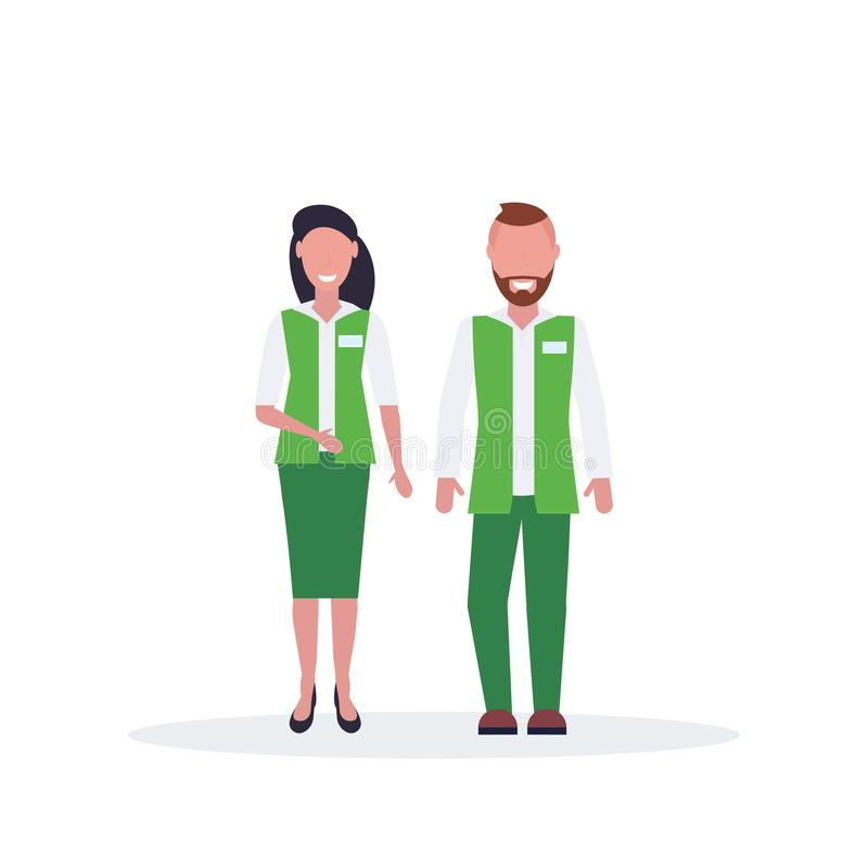 Couple man woman supermarket employees standing together salesman and saleswoman in green uniform happy male female royalty free illustration