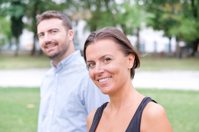 Couple of man and woman together portrait outdoor stock photography