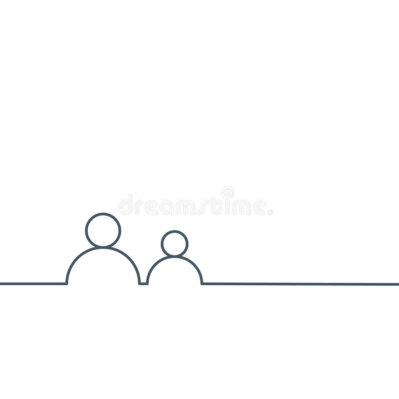 Couple, man and woman User linear icon in one line. Stock Vector illustration isolated on white background vector illustration