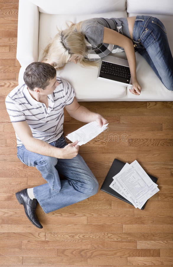 Couple Managing Personal Finances stock photography