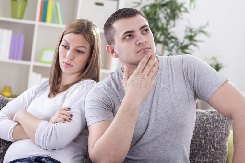 Couple with marital problems. Upset couple with marital problems stock images