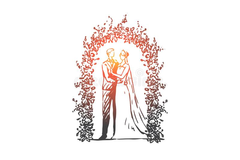 Couple, marriage, wedding, groom, bride concept. Hand drawn isolated vector. vector illustration