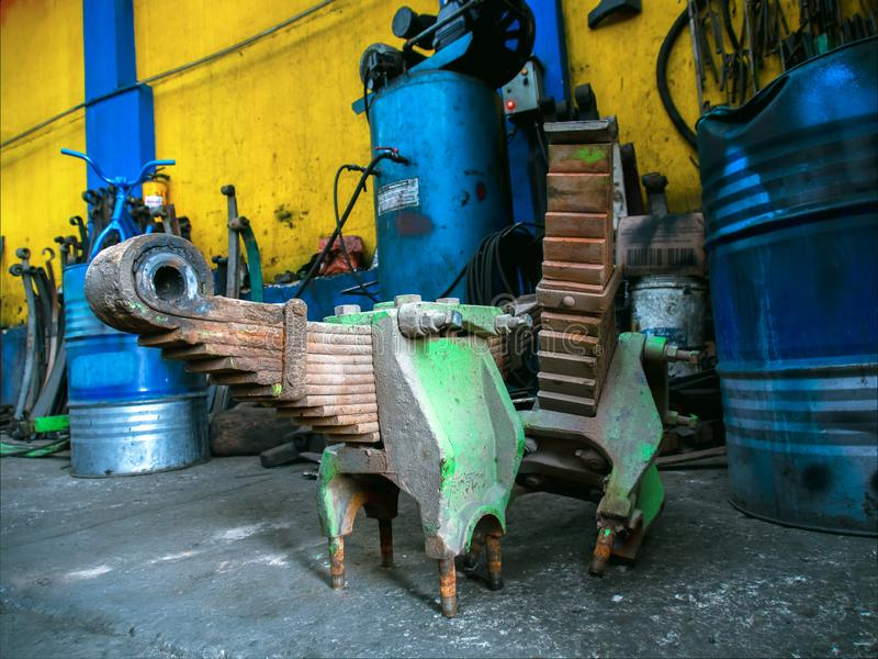 A couple of massive leaf spring systems stock photo