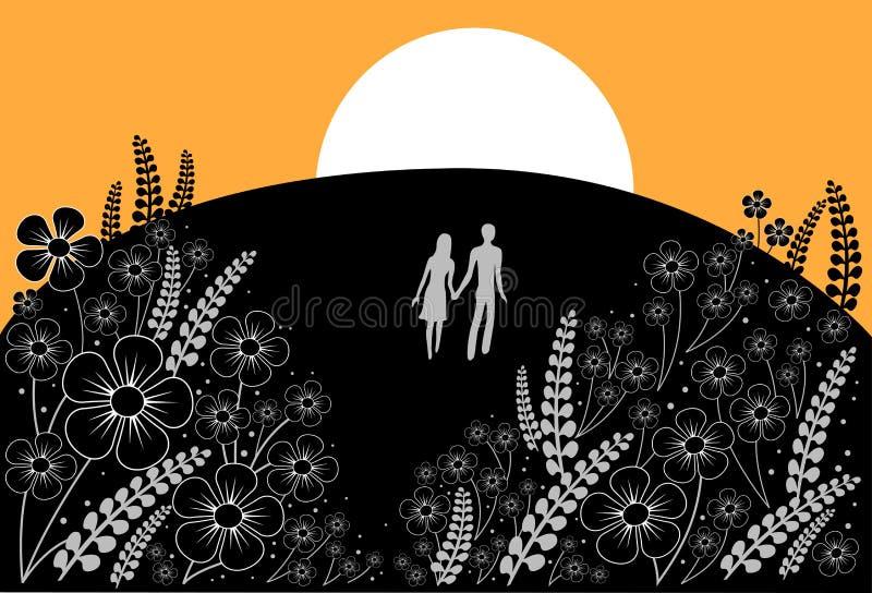 Couple on meadow. Vector illustration vector illustration