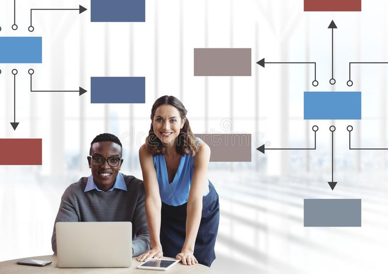 Couple meeting with mind map and computer royalty free stock photo