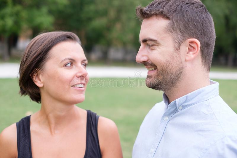Man and a woman together portrait outdoor royalty free stock images