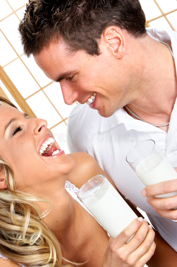 Download Couple with milk stock image. Image of diet, nutrition - 4844047
