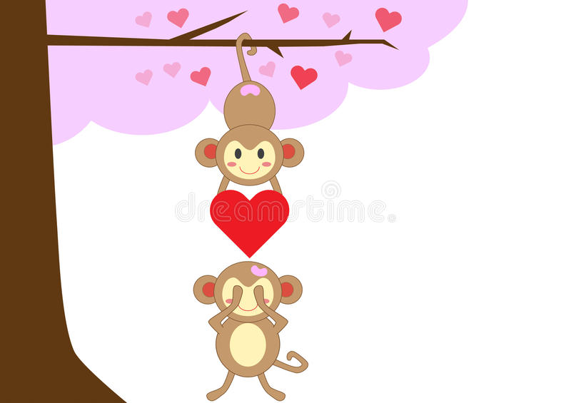 Couple monkey in love together royalty free stock photo