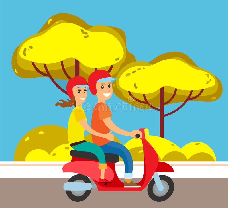 Couple on Moped or Scooter, Suburban Street Road royalty free illustration