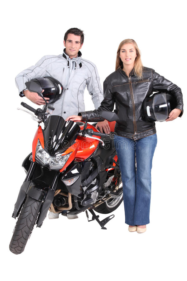 Download Couple with motorbike stock photo. Image of sports, portrait - 28720628