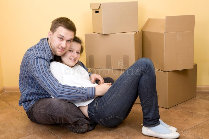 Couple moving in royalty free stock images