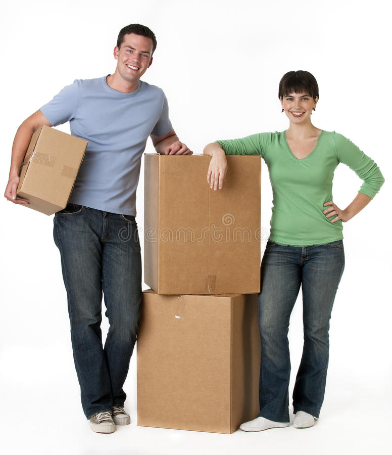 Download Couple With Moving Boxes Royalty Free Stock Photos - Image: 10545468