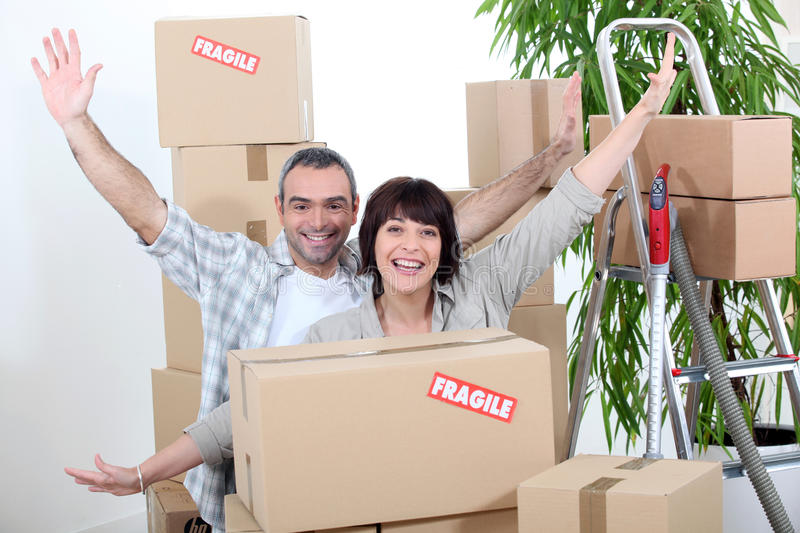 Download Couple on moving day stock image. Image of elated, accommodation - 35511015