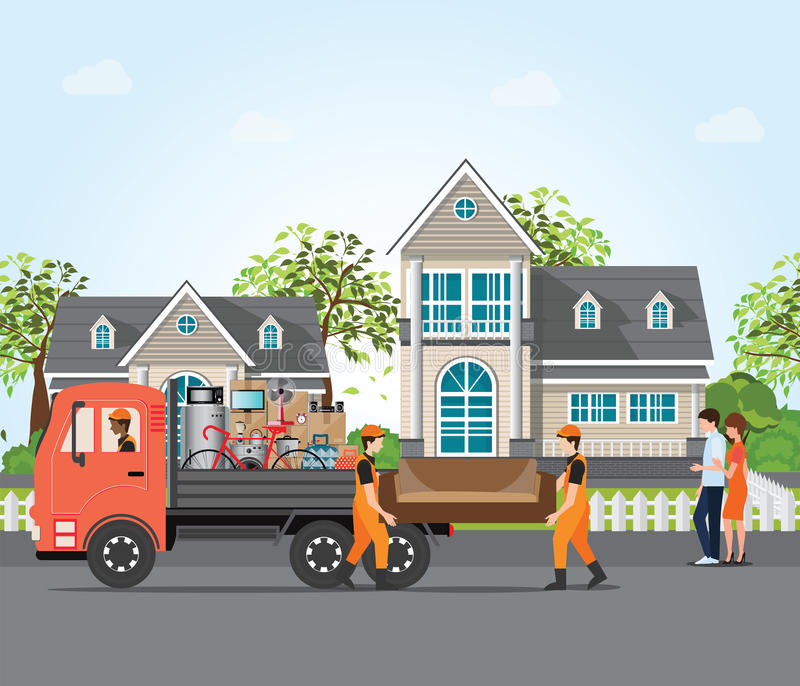 Couple moving into new house. stock illustration