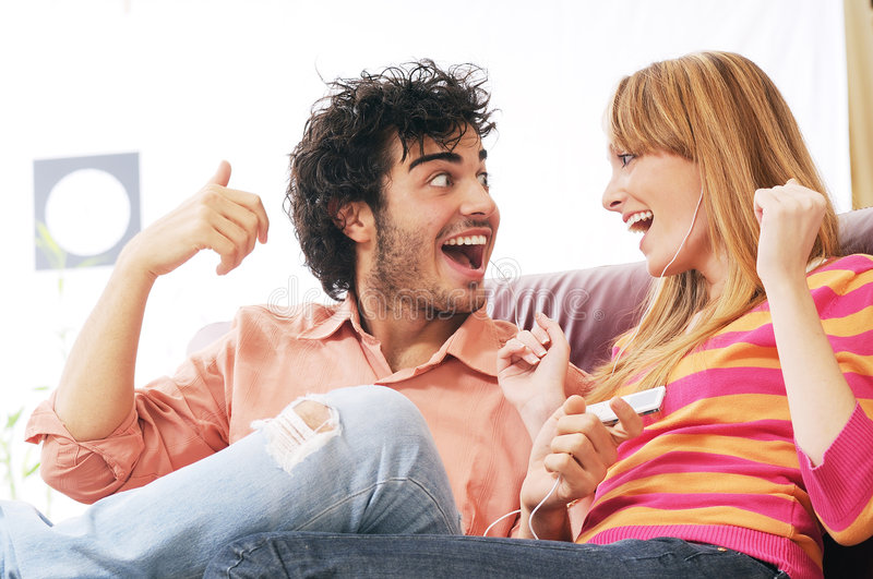 Couple and music royalty free stock photography
