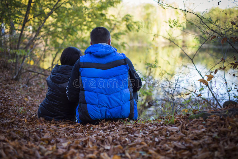 Couple in nature stock photos
