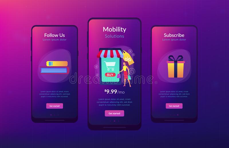Smart retail in smart city app interface template. A couple near huge smartphone with buy icon on the screen make online purchases. Smart retail, retail vector illustration