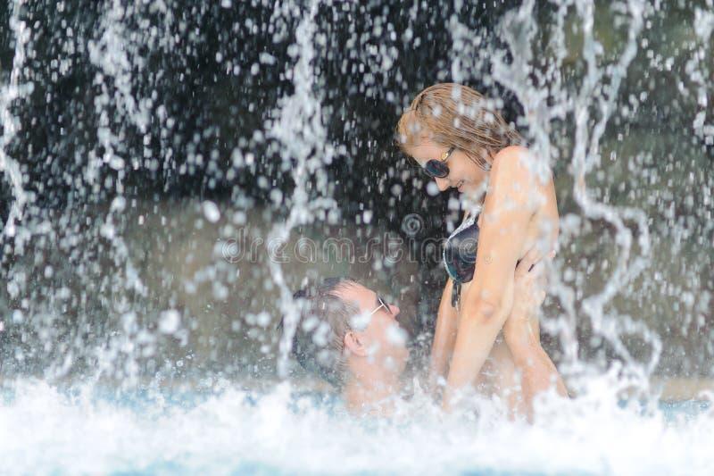 Couple near waterfall