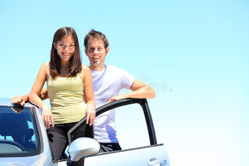 Couple and new car royalty free stock photo