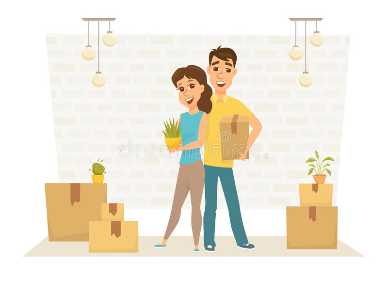 Couple in new home vector illustration