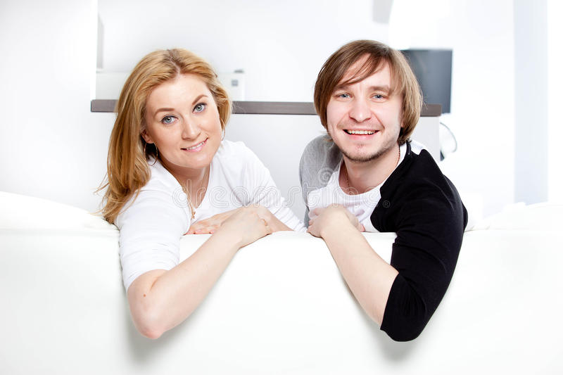 Couple in new home. Happy couple in new home royalty free stock photo