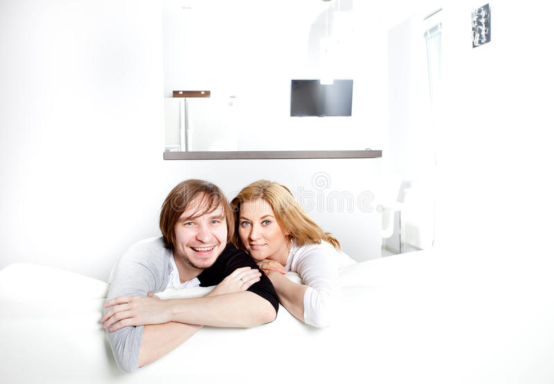 Couple in new home. Happy couple in new home stock photography