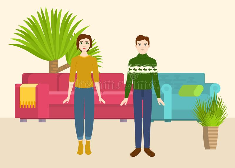 Couple in new home with sofa and armchair and home plants. vector illustration. People moving house. Buying or rental vector illustration
