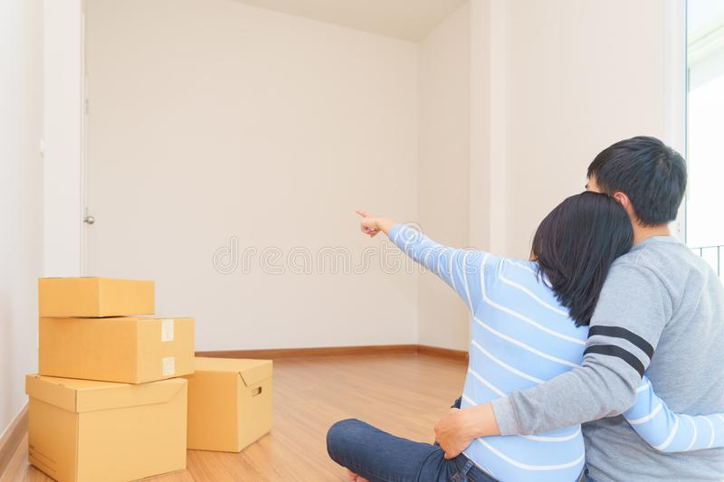 Couple in new home and think idea for have interior decoration. royalty free stock photography