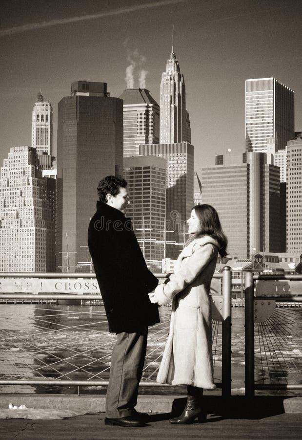 Couple on New York Bridge stock photography