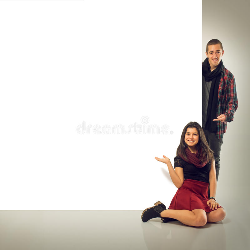 Couple and Notice Board royalty free stock images