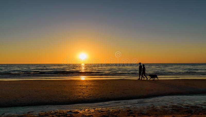 Couple, ocean, beach, sunset and dog stock images