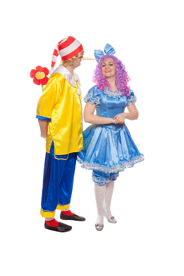Free Couple Of Happy Clowns In Pinocchio And Malvina Suits Royalty Free Stock Photography - 28786157