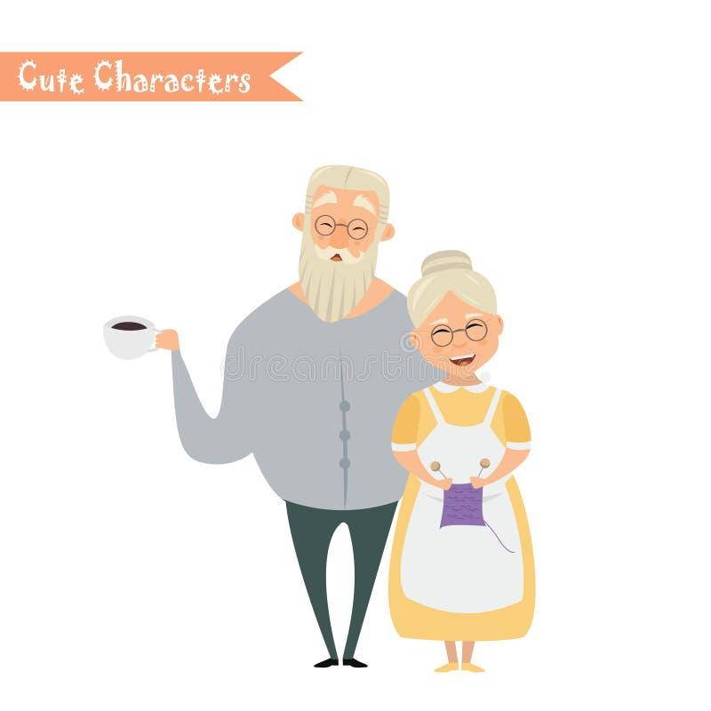 Lovely elderly couple royalty free illustration