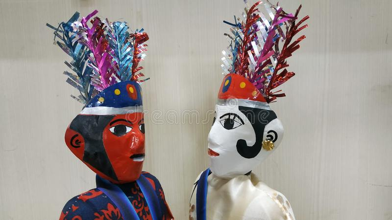 Couple Ondel Ondel Dolls Toys. Ethnic Traditional Toys From Betawi Jakarta stock photo