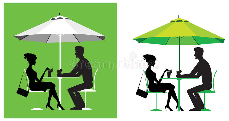 Download Couple at outdoor cafe stock vector. Illustration of chat - 25763610