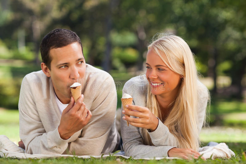 Download Couple outside stock photo. Image of woman, green, summer - 18741014