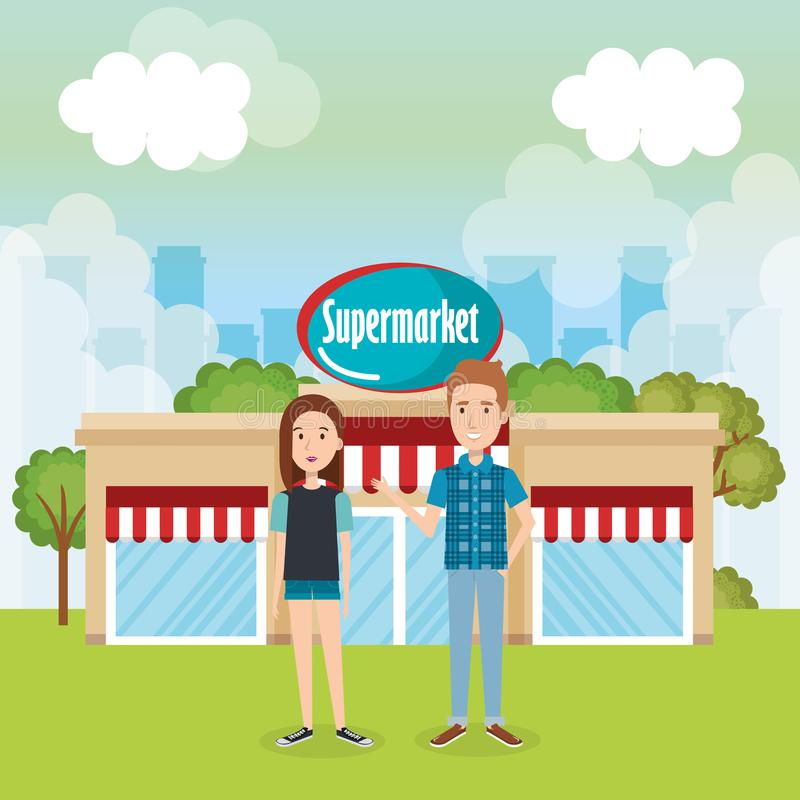Couple outside supermarket building scene. Vector illustration design vector illustration