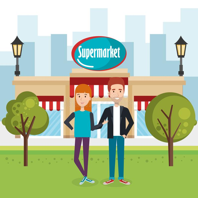 Couple outside supermarket building scene. Vector illustration design royalty free illustration