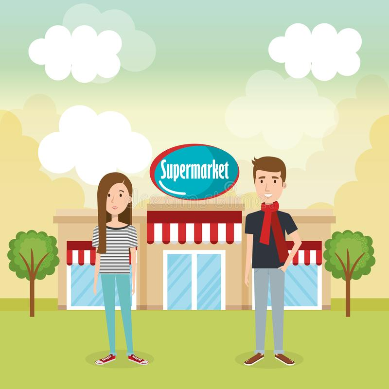 Couple outside supermarket building scene. Vector illustration design stock illustration