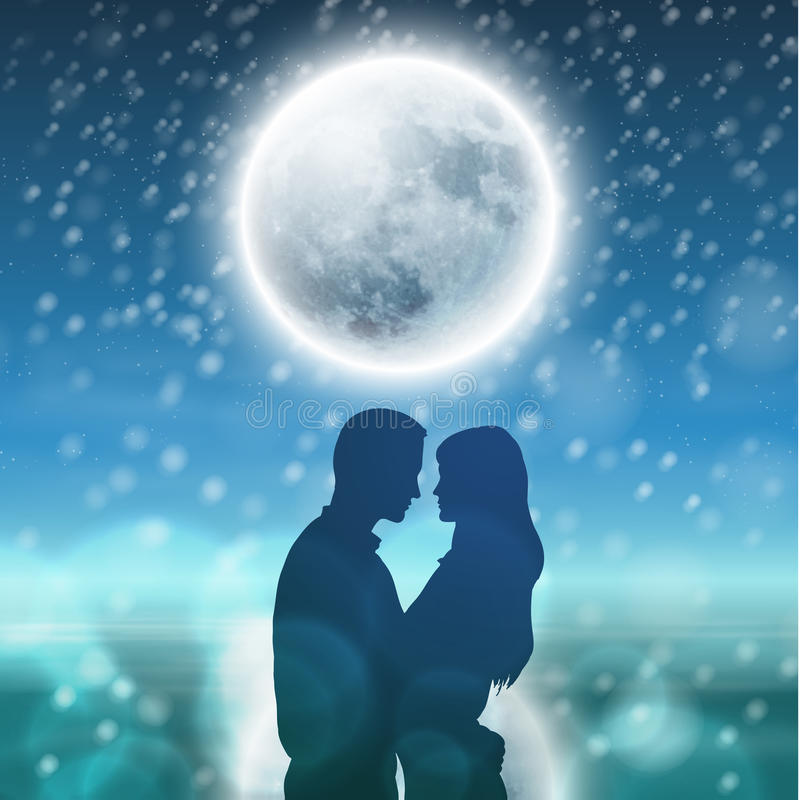 Couple over background with moon and snowflakes royalty free illustration