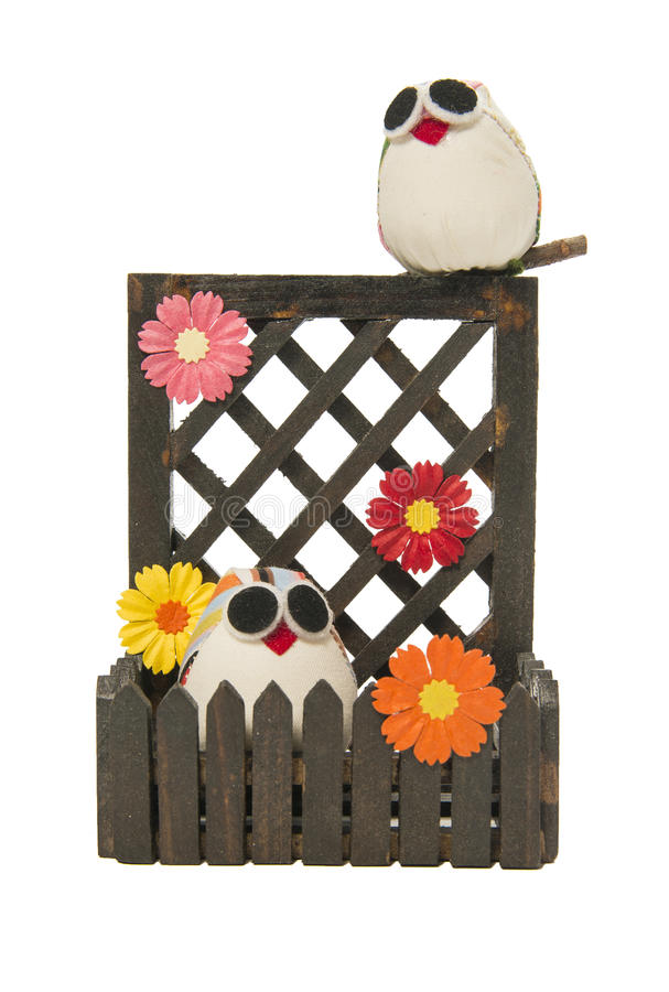 Couple owl with flower on the wooden fence royalty free stock photos