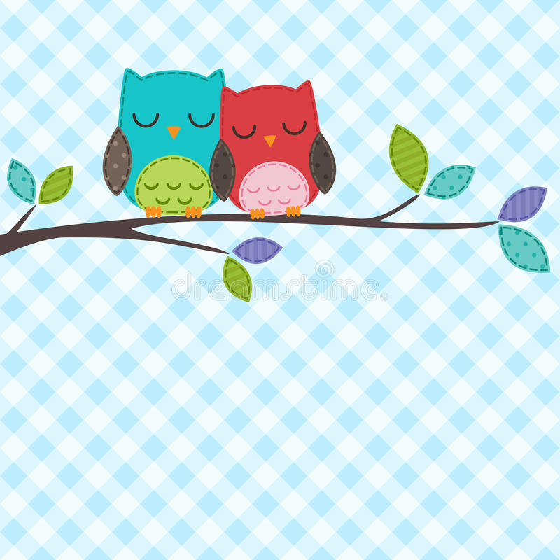 Download Couple of owls stock vector. Image of patchwork, baby - 24903528