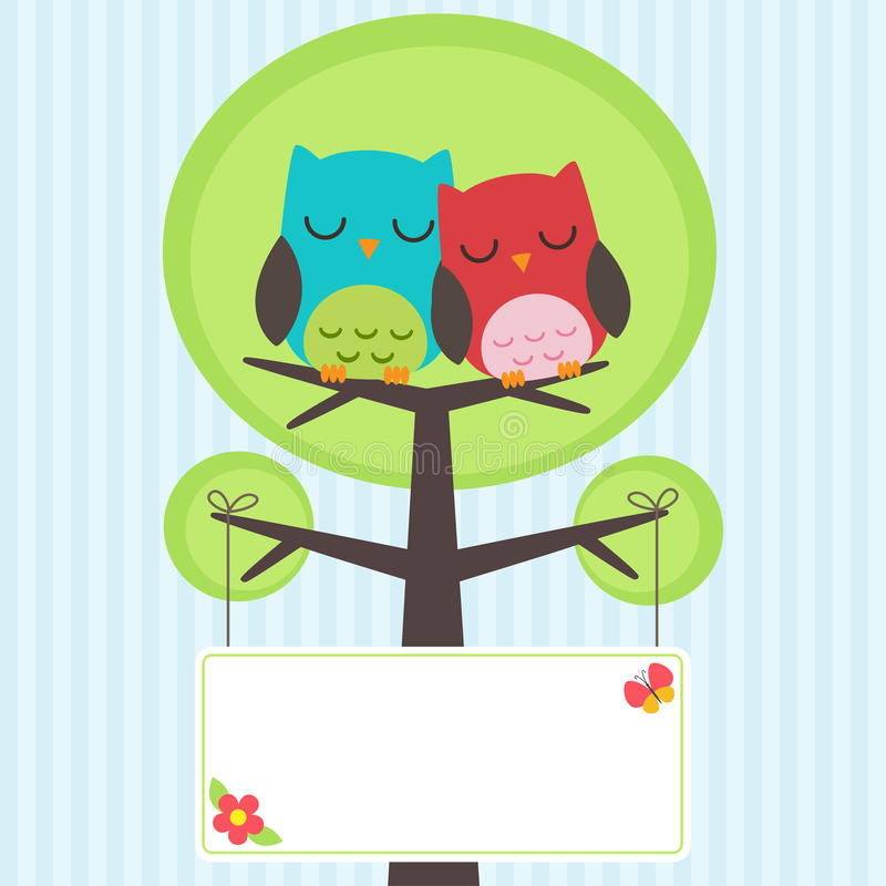 Download Couple of owls stock vector. Image of design, couple - 25278093