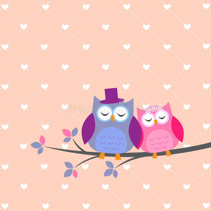 Couple owls in love. Vector wedding card stock illustration