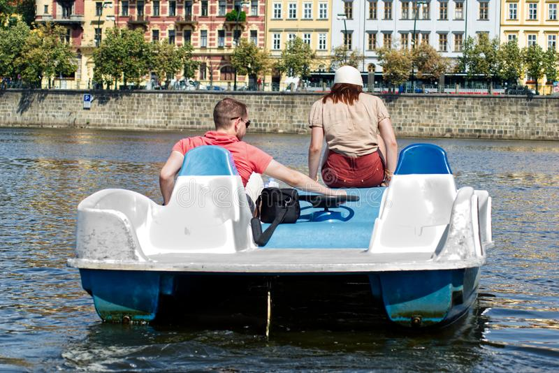 Couple on a paddle boat stock photos