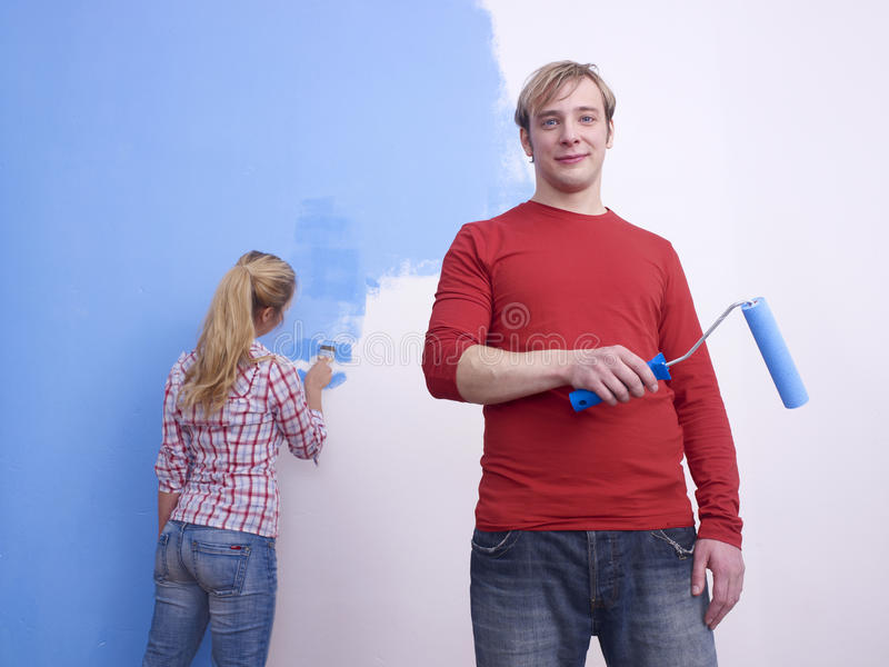 Download Couple painting room blue stock photo. Image of bluish - 11770924