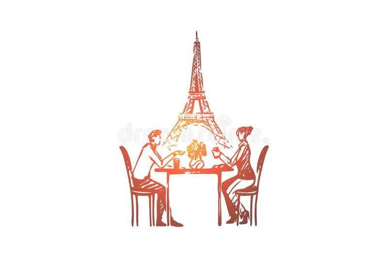 Couple, Paris, love, romance, feelings concept. Hand drawn isolated vector. Couple, Paris, love, romance, feelings concept. Hand drawn couple in love sits in vector illustration