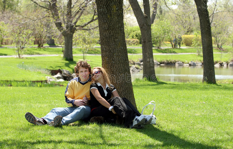 Couple in the park stock image